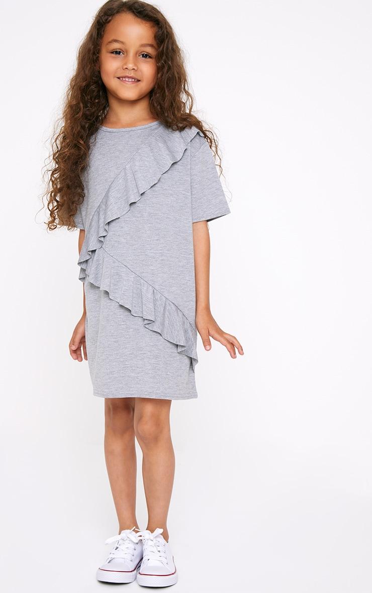 Ruffle Front Grey T Shirt Dress  1