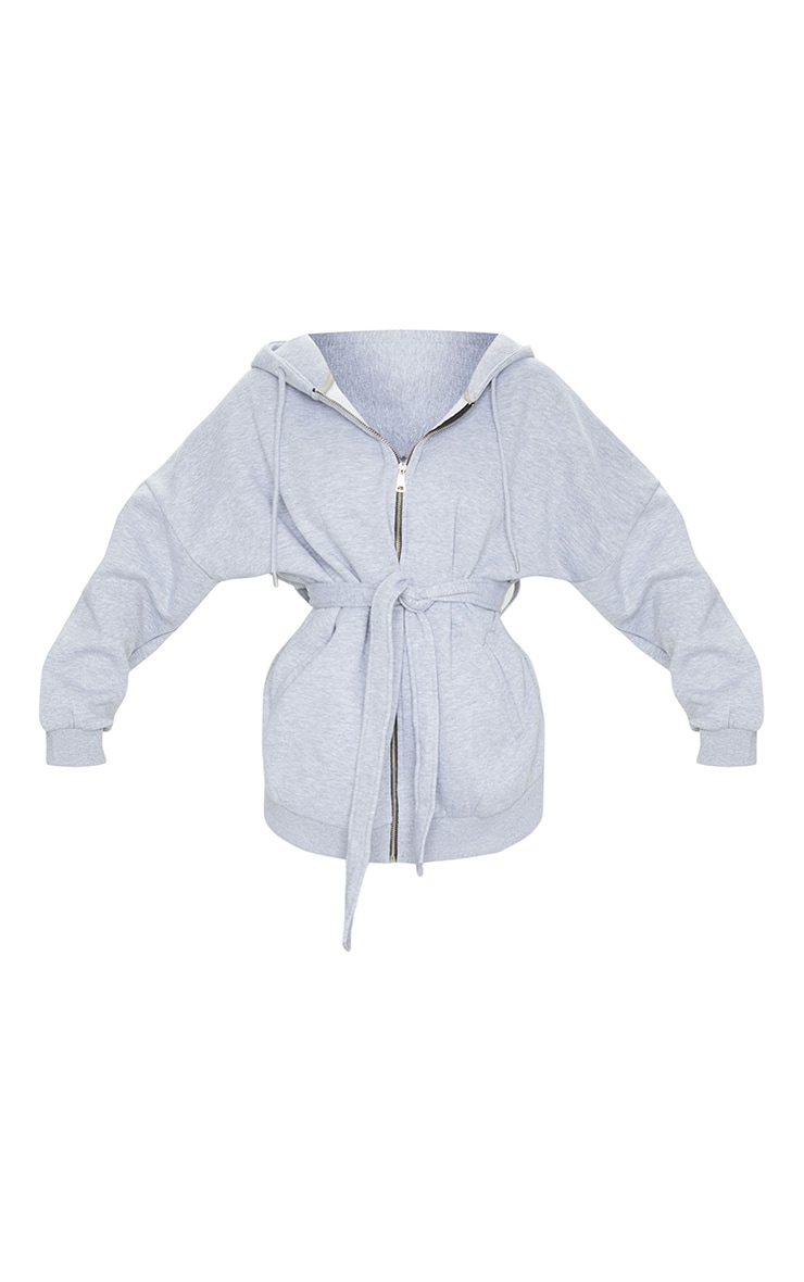 Grey Oversized Longline Zip Belted Hoodie Jacket 5