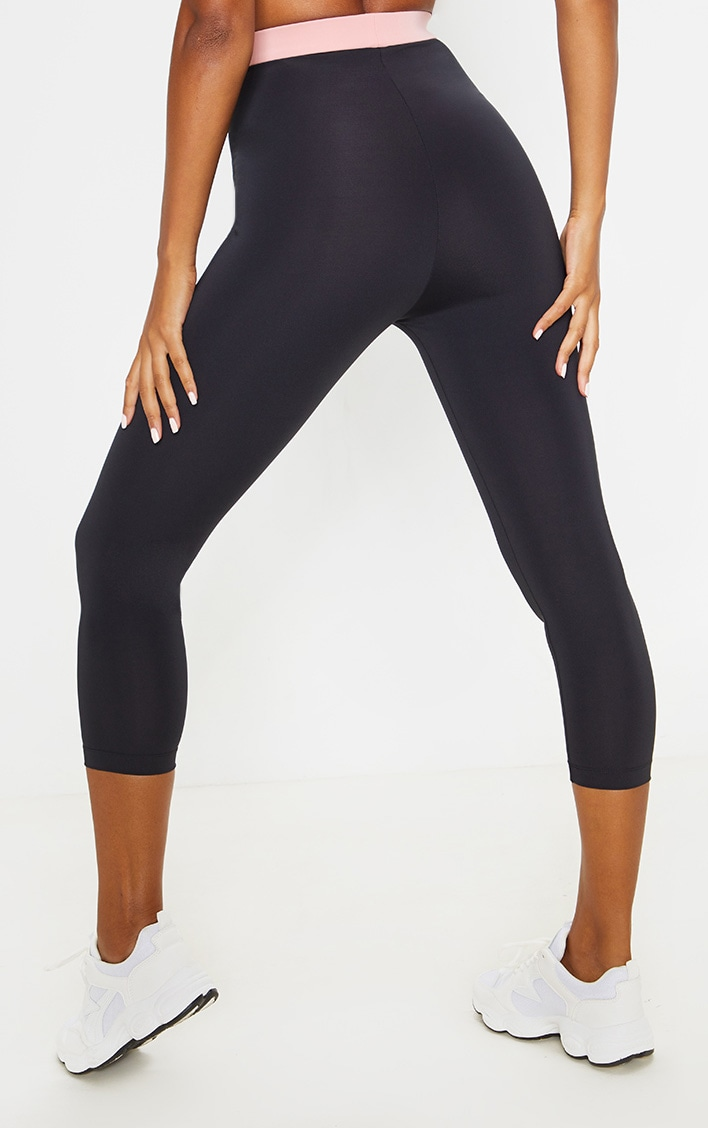 Black Contrast Waistband Cropped Leggings 4