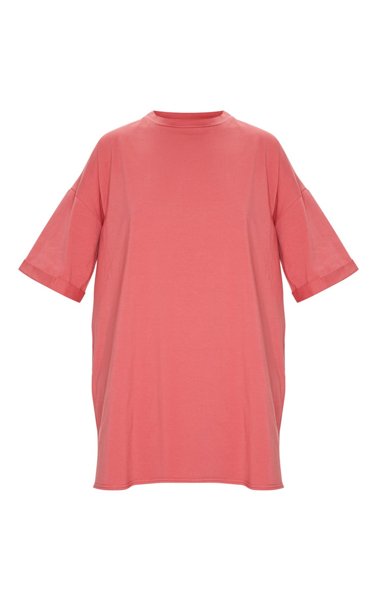 Recycled Washed Red Boyfriend Oversized T Shirt Dress 5