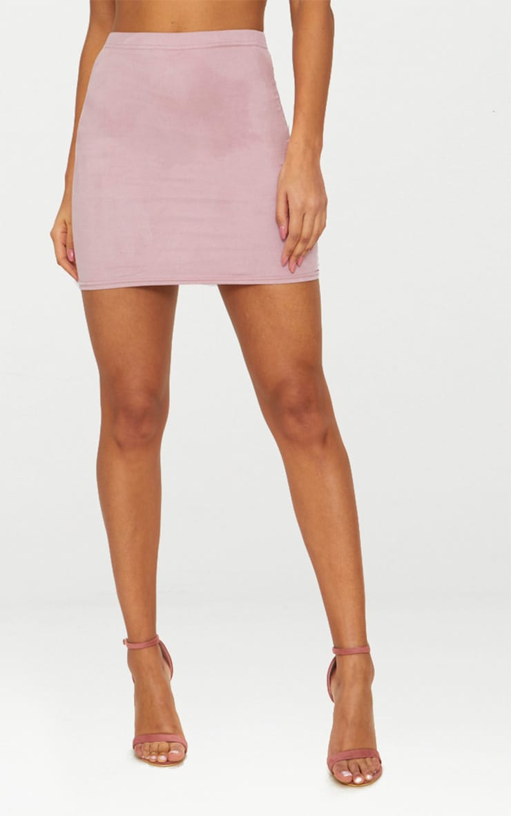 Blush Faux Suede Bodycon Mini Skirt 2
