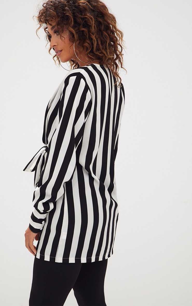 Monochrome Stripe Tie Front Long Blouse 2