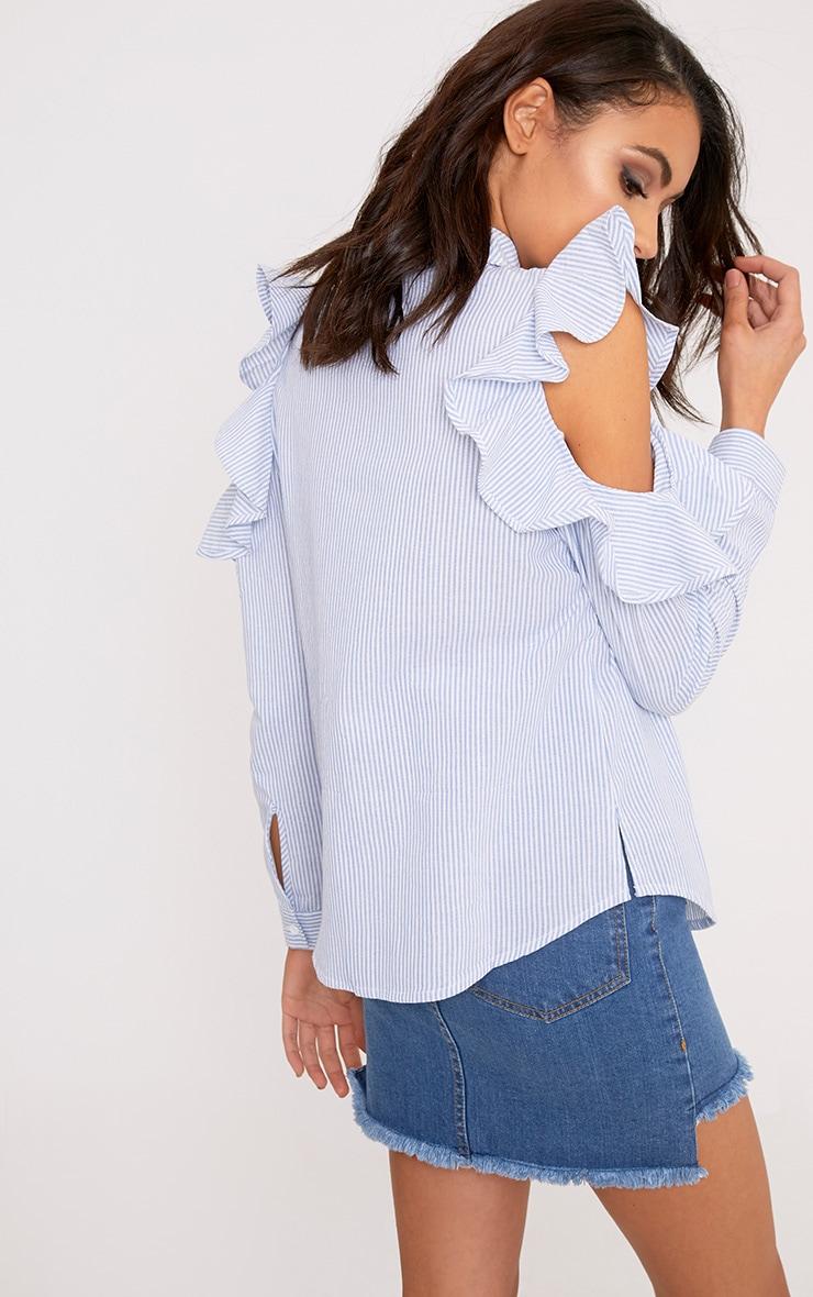 Caleigh Blue Cotton Stripe Frill Open Shoulder Shirt 2