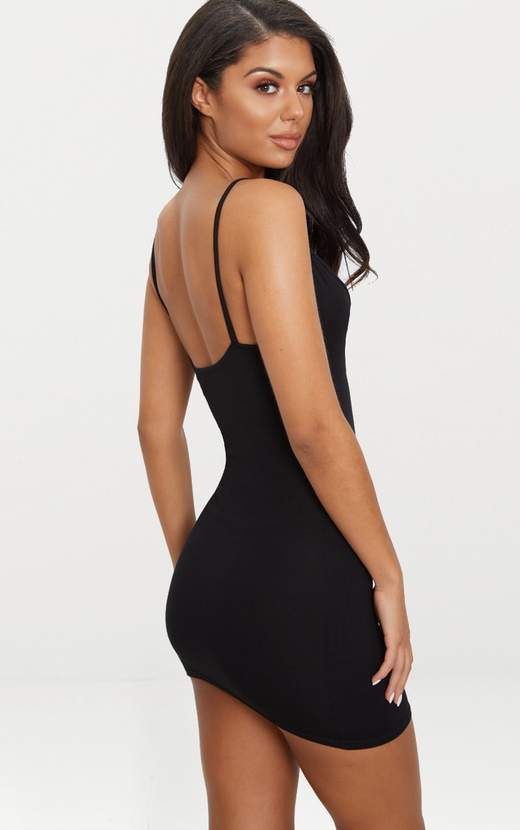 Riana Black Strap Detail Bodycon Dress 2