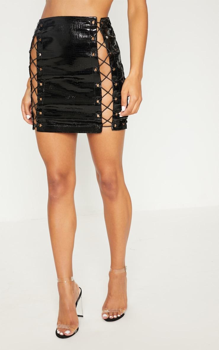 Black Croc Vinly Extreme Lace Up Mini Skirt 4
