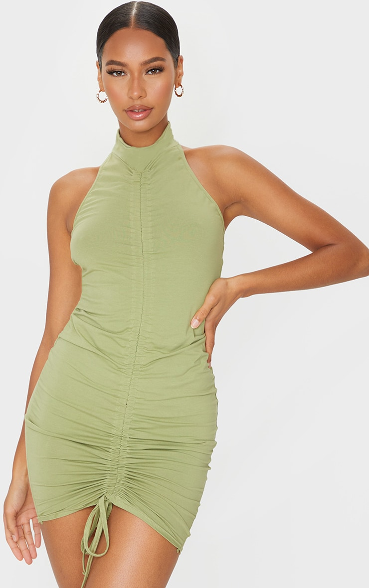 Sage Green Ruched Front Halterneck Bodycon Dress 1