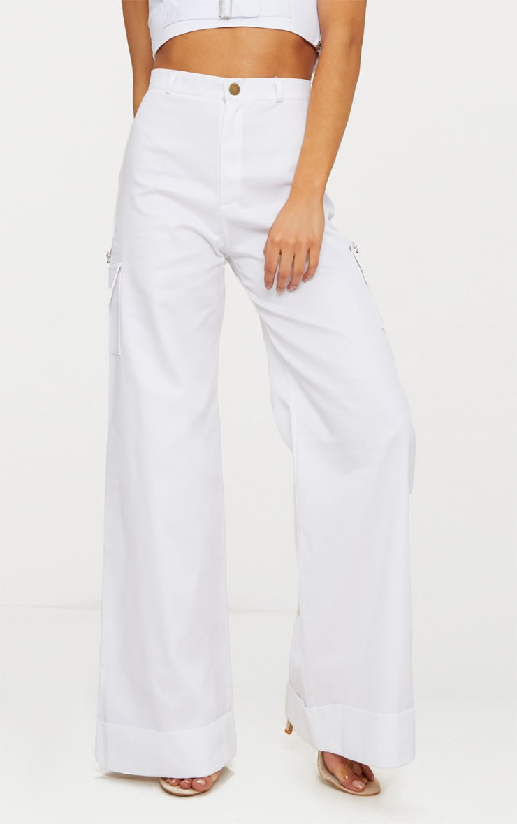 Petite White Pocket Detail Cargo Trousers 2