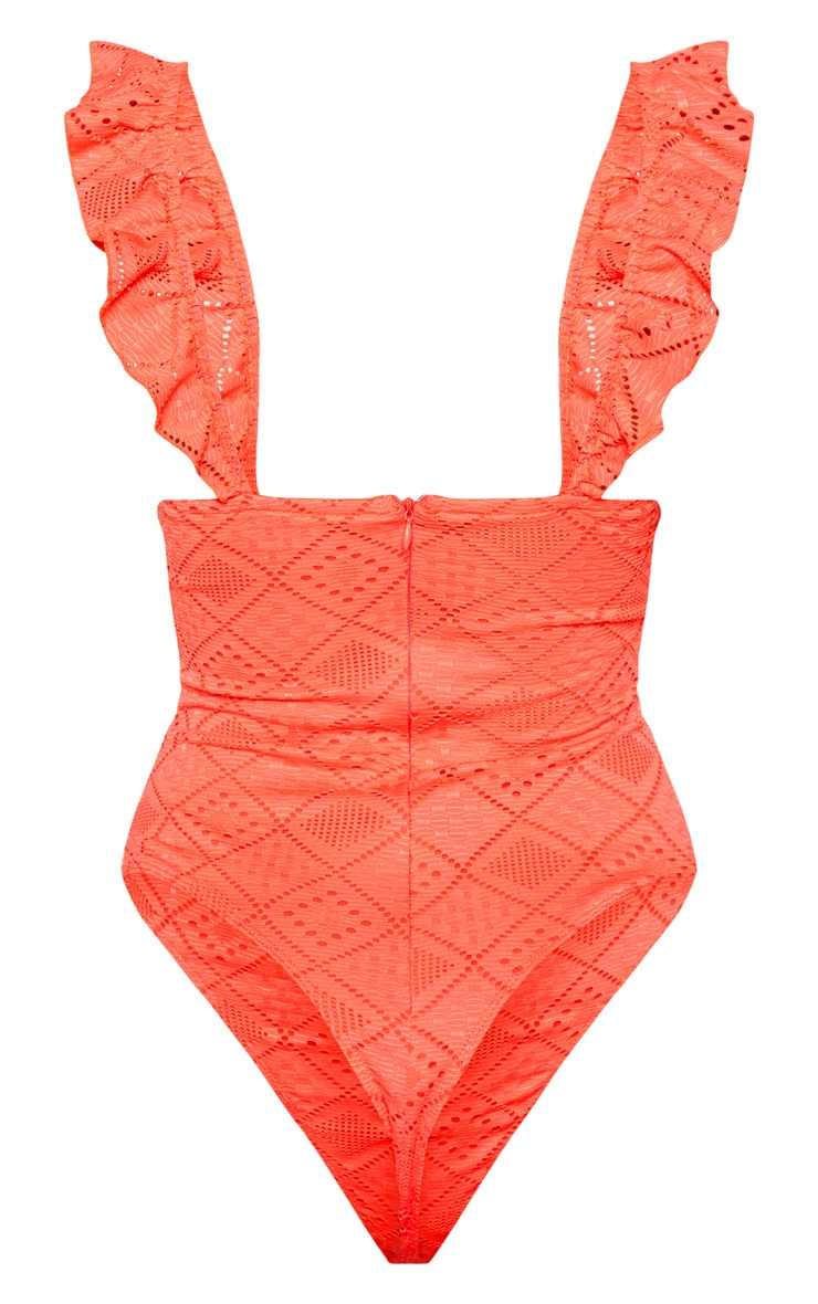 Peach Broderie Detail Cut Out Sleeveless Bodysuit 4