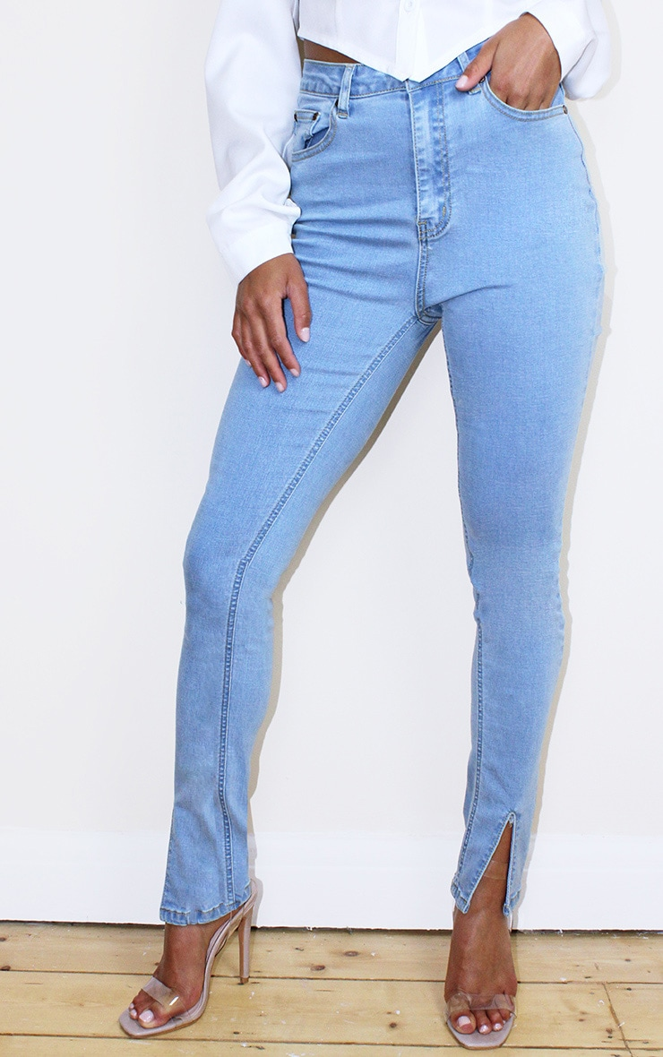 Petite Bleach Wash Split Front Jean 2