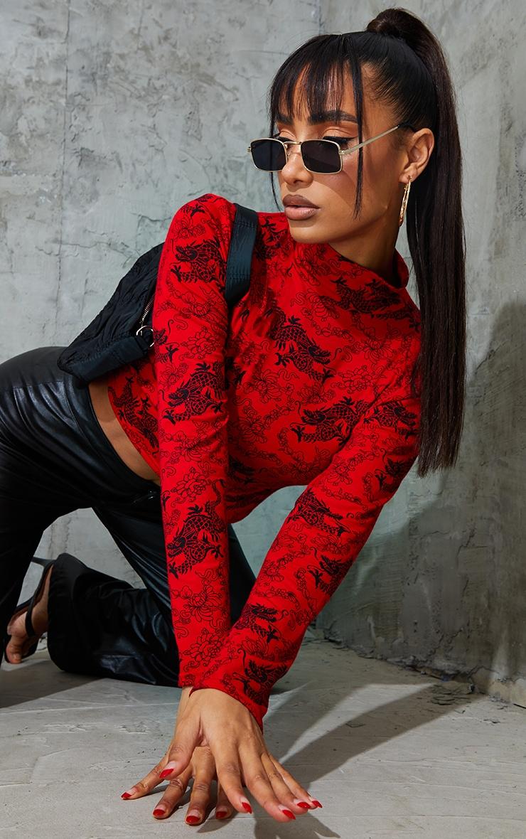 Red Dragon PrintHigh Neck Long Sleeve Crop Top 4