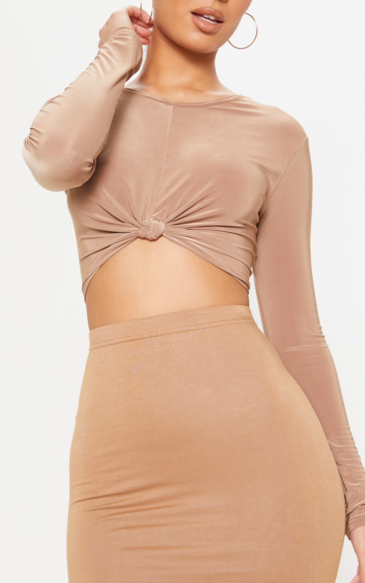 Camel Slinky Knot Front Crop Top 5