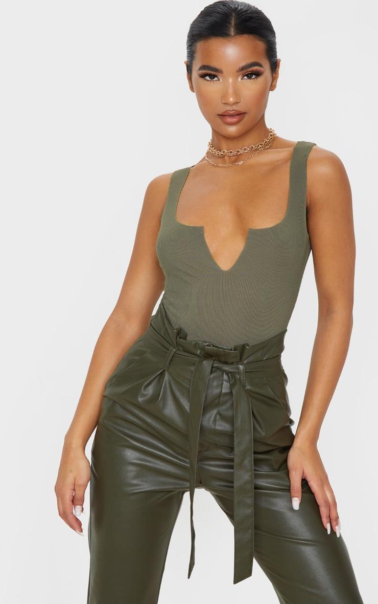 Sage Khaki Rib Raw V Sleeveless Bodysuit 1