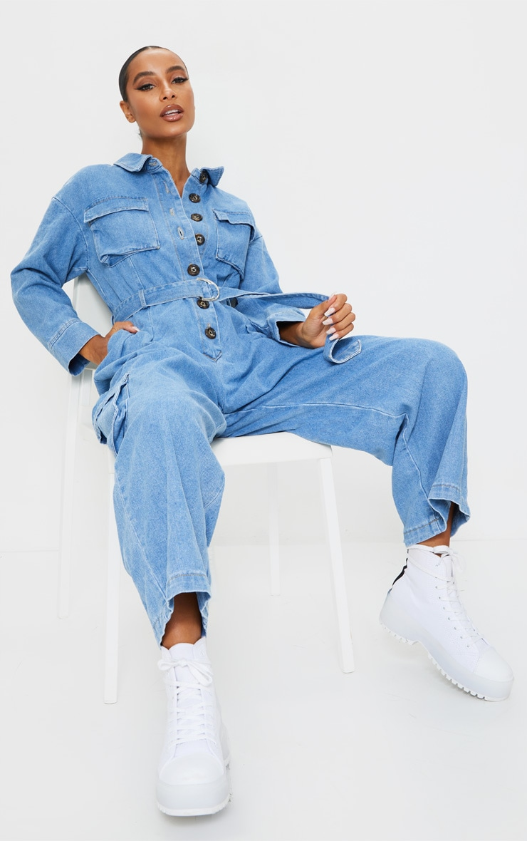 Mid Wash Oversized Cropped Denim Boilersuit 1