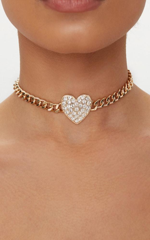 Gold Diamante Heart Chain Choker 1