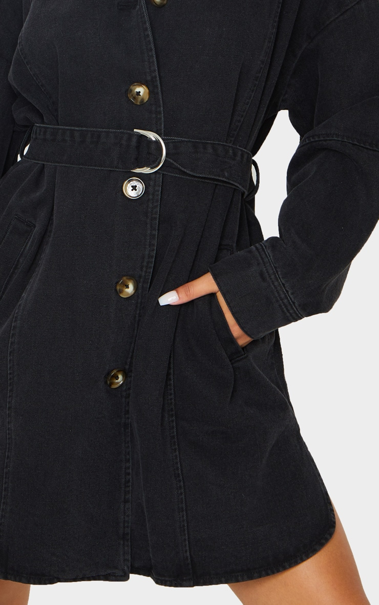 Washed Black Tortoise Button Tie Waist Denim Shirt Dress 4