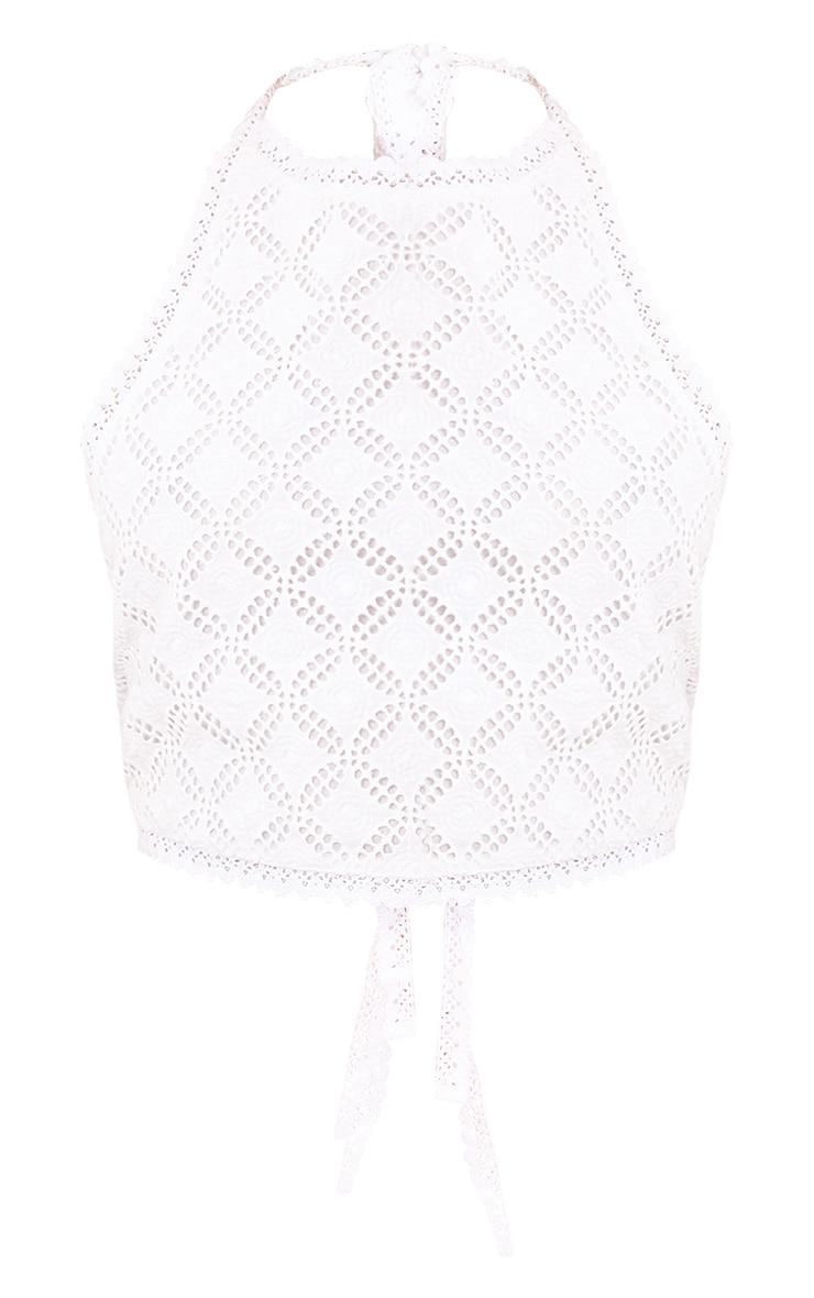 Liberty White Crochet Halterneck Crop Top 3