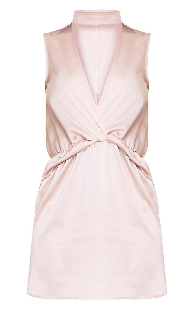 Kaitlyn Champagne Satin Choker Twist Front Shift Dress 3