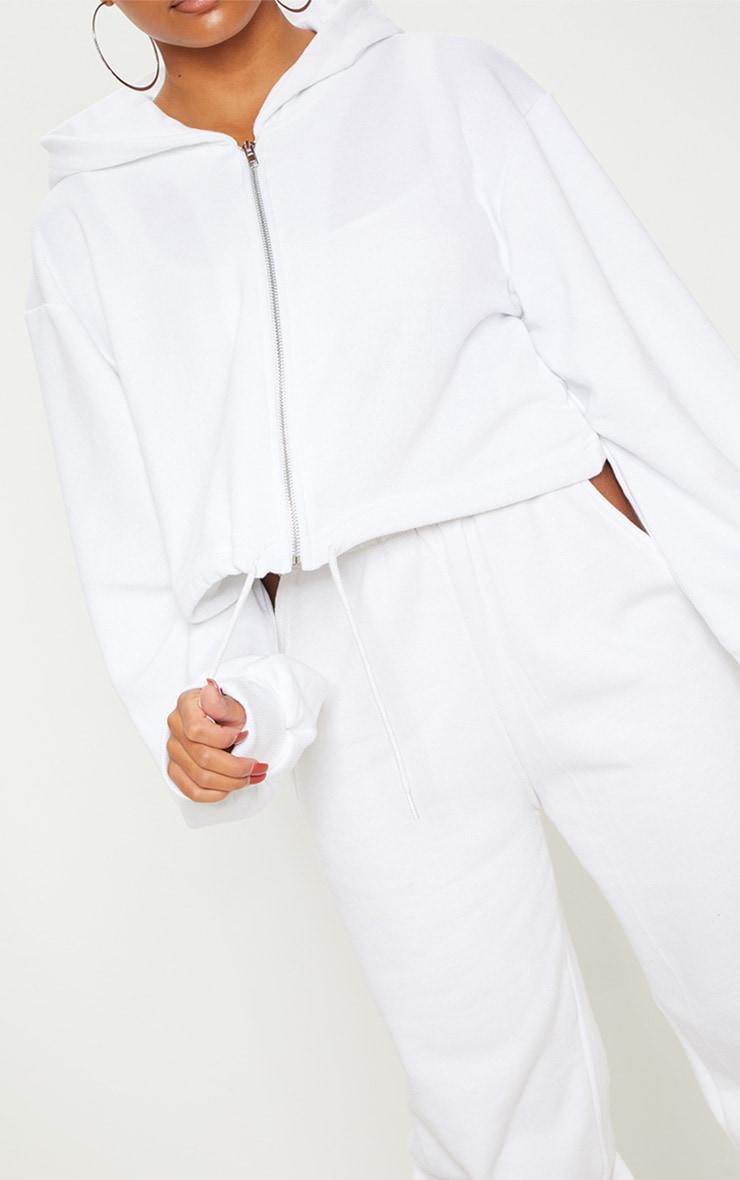 White Zip Front Drawstring Hoodie 5