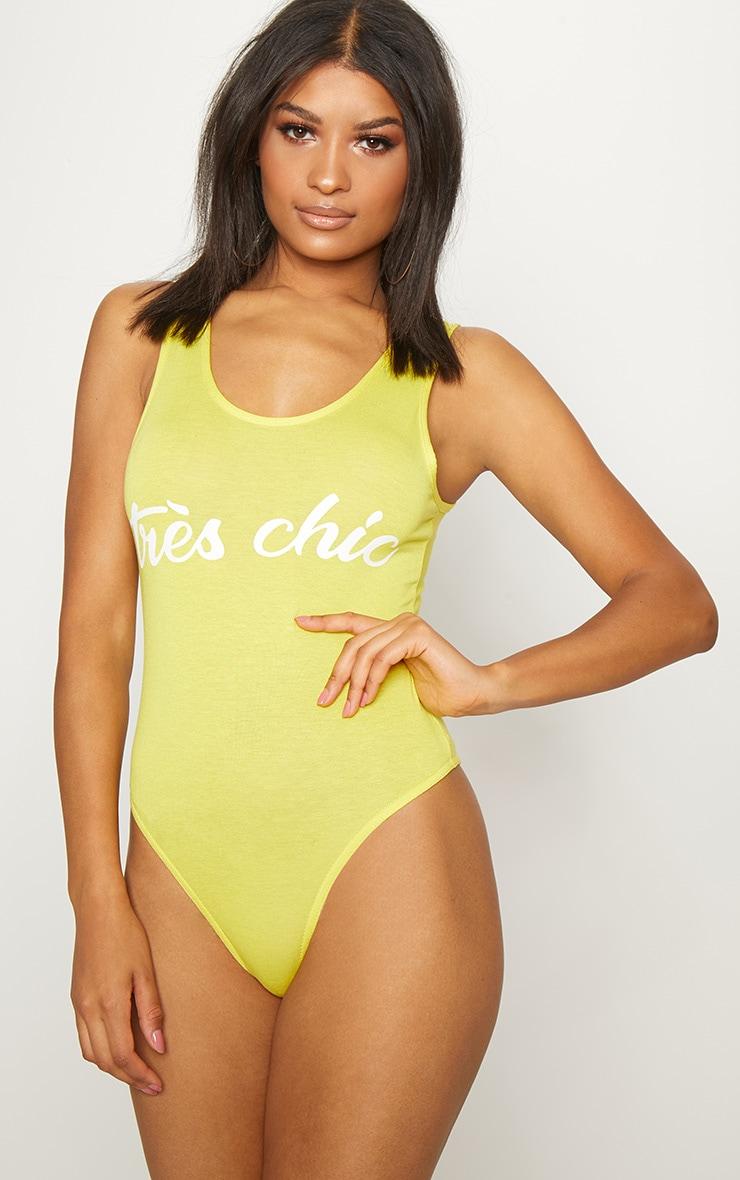 Yellow Tres Chic Slogan Jersey Scoop Neck Bodysuit 2