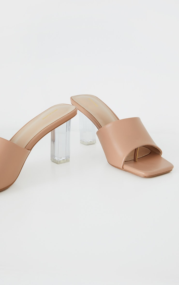 Camel PU Toe Thong Square Toe Clear Heeled Mules 1