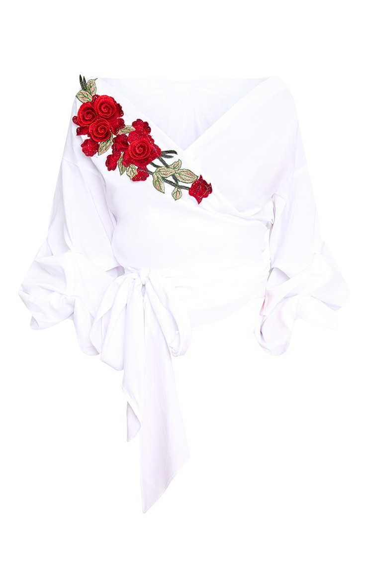White Floral Applique Ruched Frill Sleeve Wrap Shirt 3