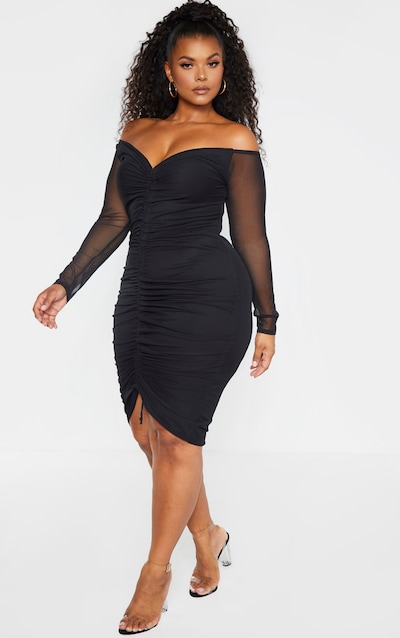 Plus Black Mesh Ruched Bardot Midi Dress