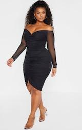 Plus Black Mesh Ruched Bardot Midi Dress 1