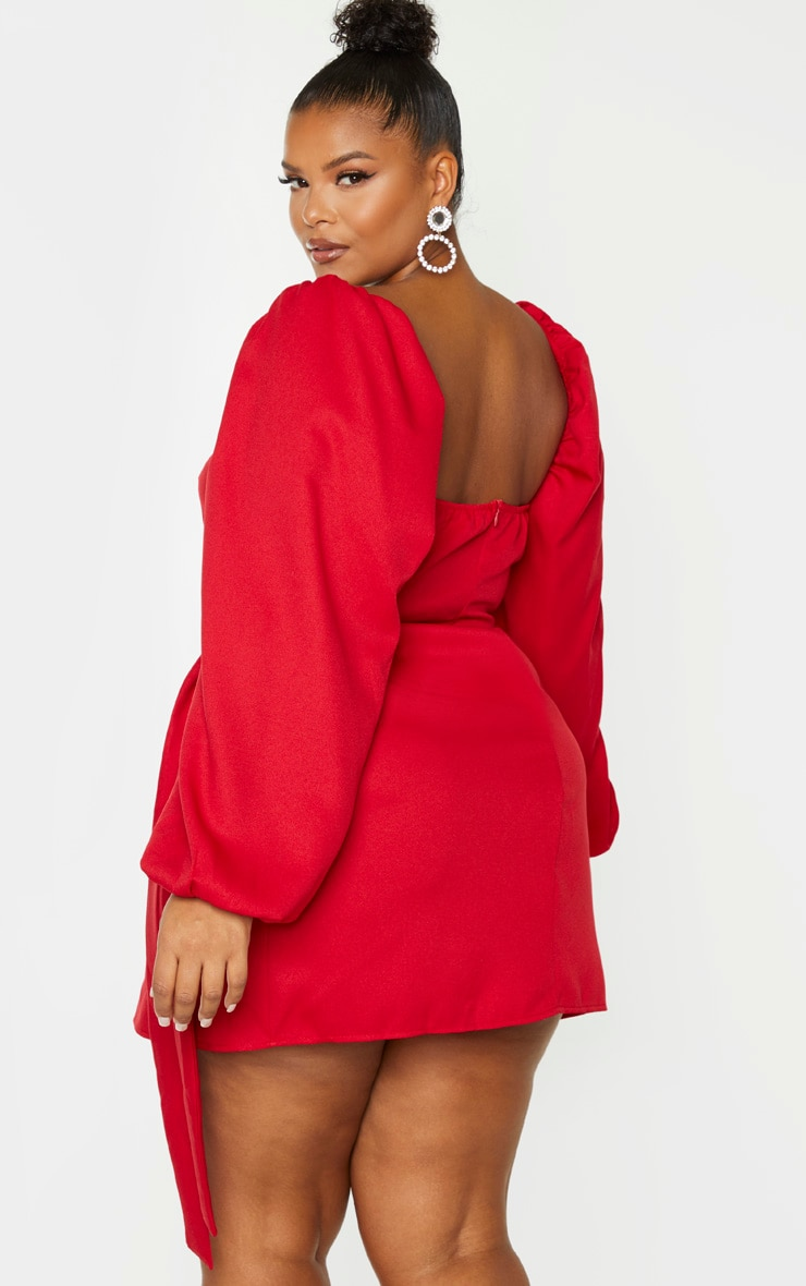 Plus Red Ruched Cut Out Bodycon Dress 2