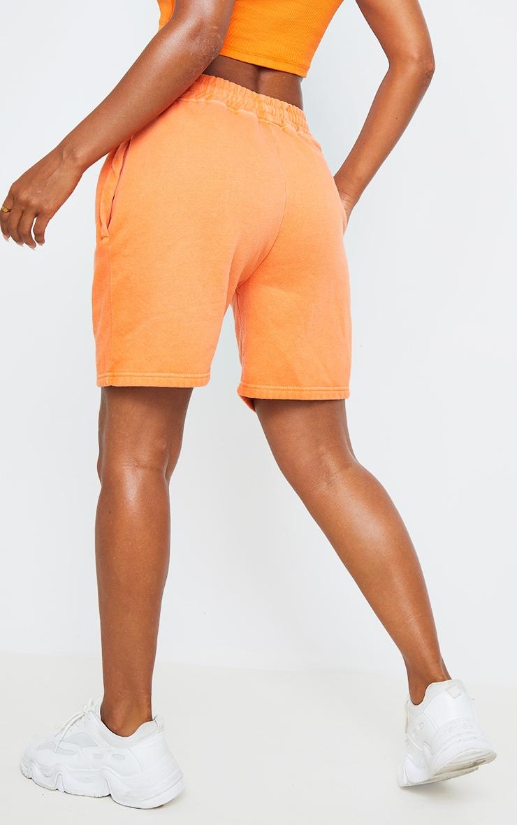 Bright Orange Washed Sweat Runner Shorts 3
