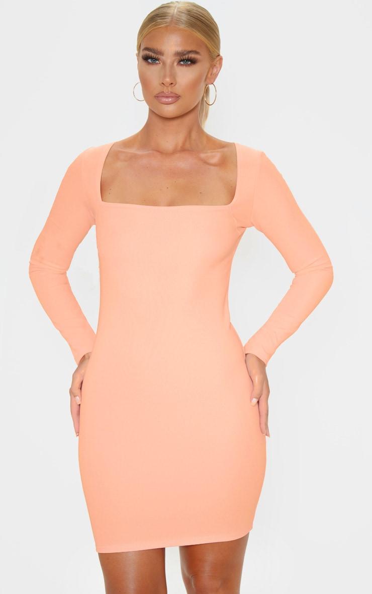 Peach Bandage Rib Long Sleeve Square Neck Bodycon Dress 1