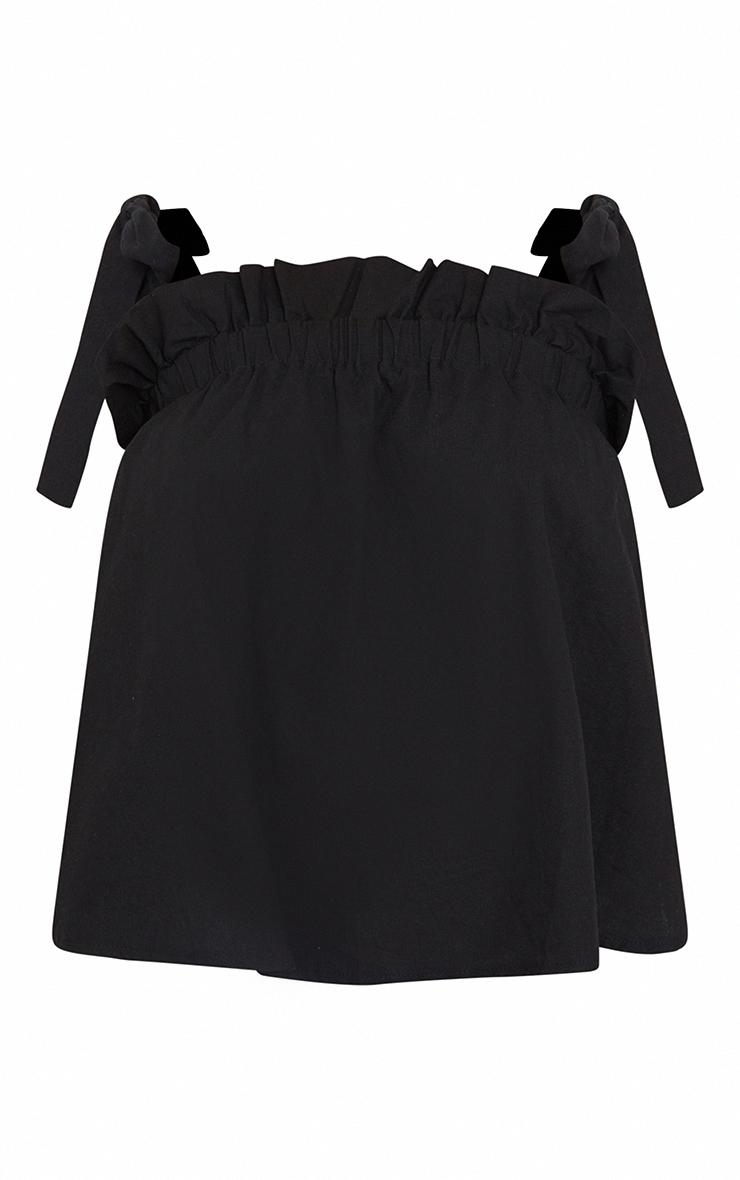 Maternity Black Tie Shoulder  Frill Blouse 5