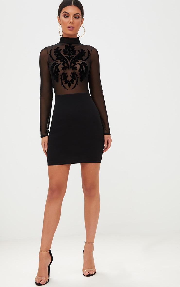 Black Sheer Flocked Mesh Bodycon Dress 4