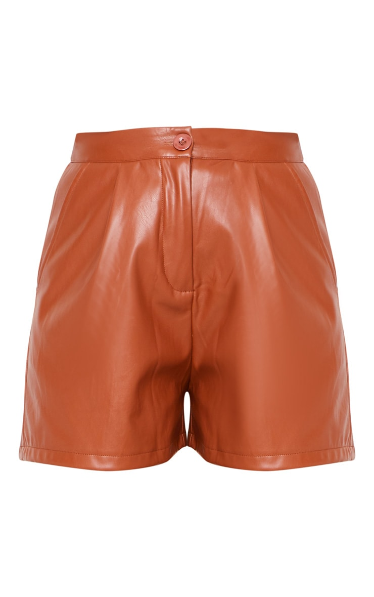 Tan Faux Leather Tailored Shorts 3