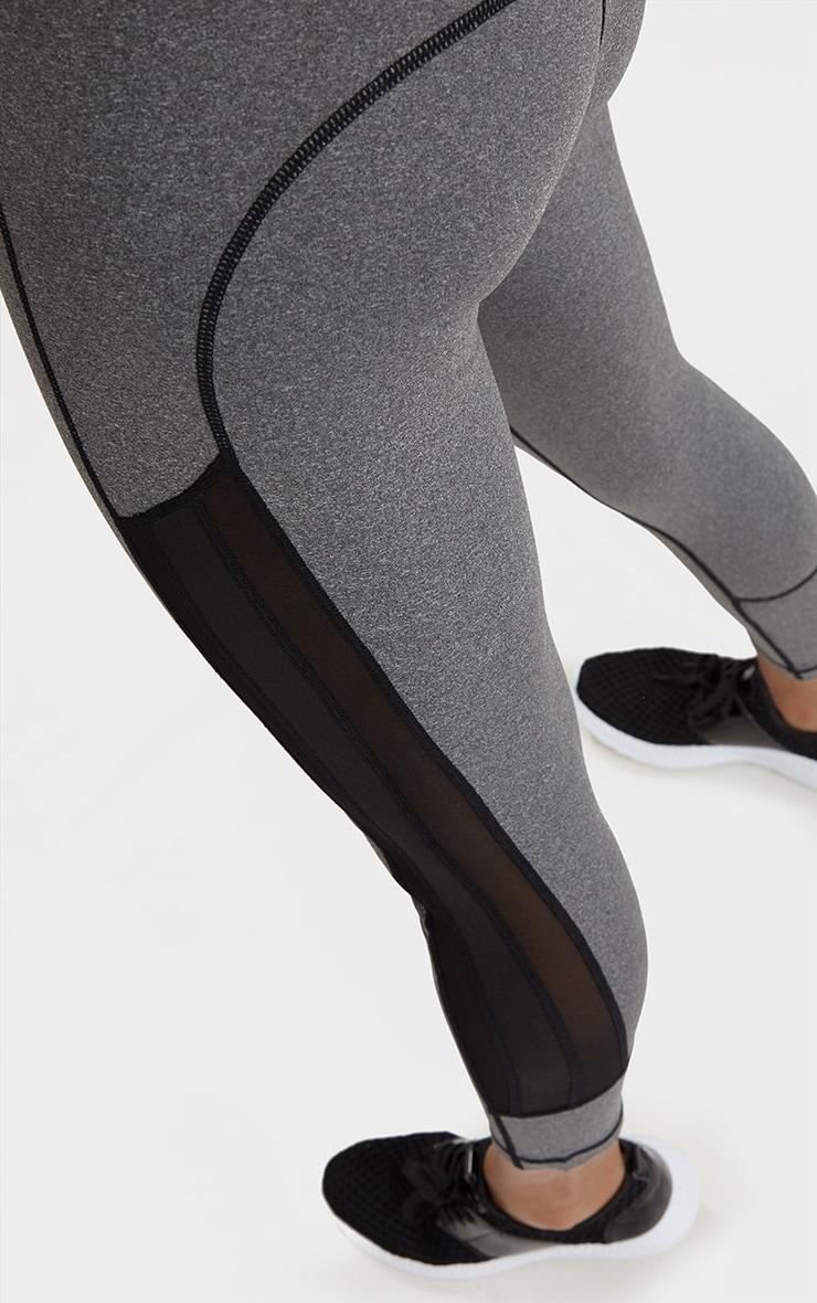 Grey Marl Contrast Stitching Leggings 5