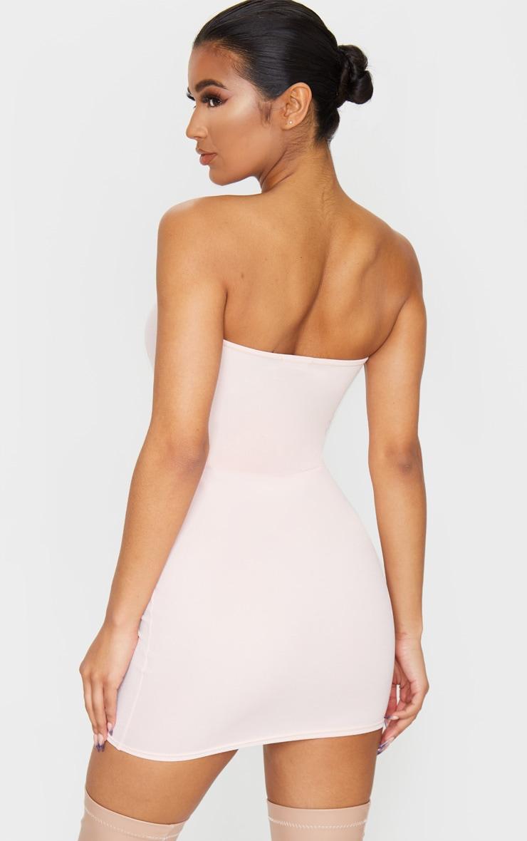 Rose Bandeau Pointy Hem Bodycon Dress 2