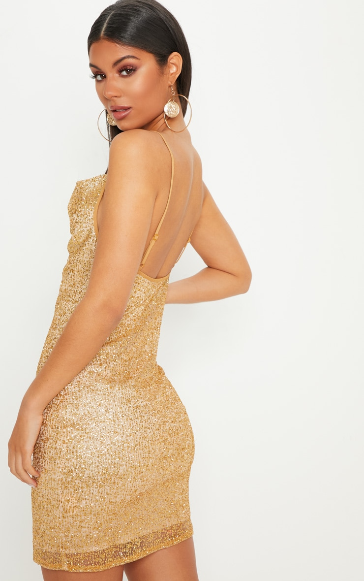 Gold Glitter Strappy Cowl Neck Bodycon Dress 2