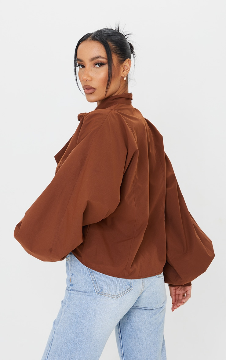 Chocolate Woven Plunge Pussy Bow Blouse 2