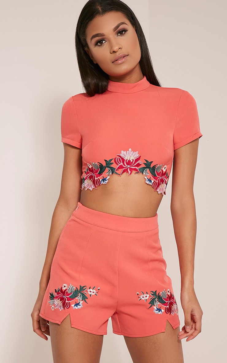 Charis Coral Floral Embroidered Shorts 1
