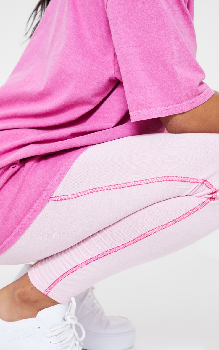 Baby Pink Contrast Stitch Legging 4