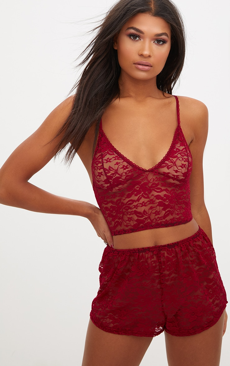 Burgundy All Over Lace Crop Top And Short Set 1
