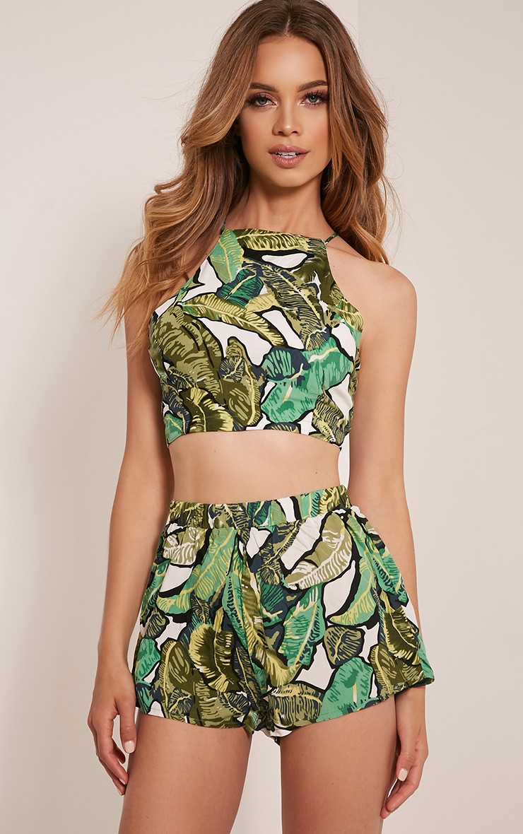 Sade Green Jungle Print Floaty Shorts 1