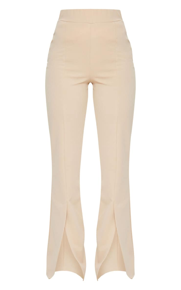 Stone Straight Leg Split Hem Trousers 5