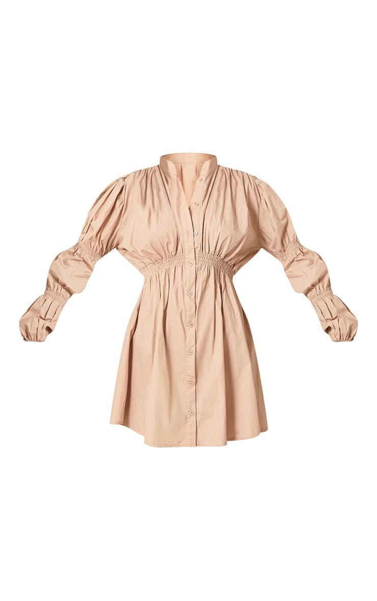 Stone Cotton Ruched Arm Detail Shirt Dress 5
