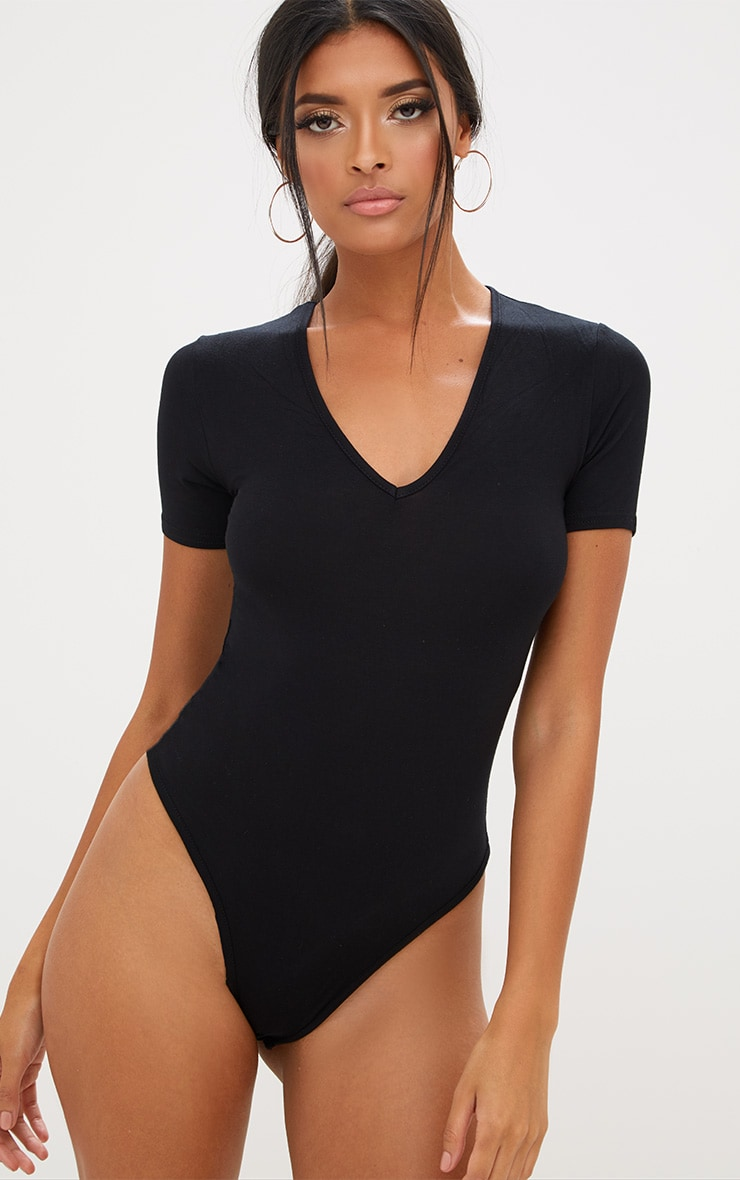 Basic Black V Neck Shortsleeve Thong Bodysuit