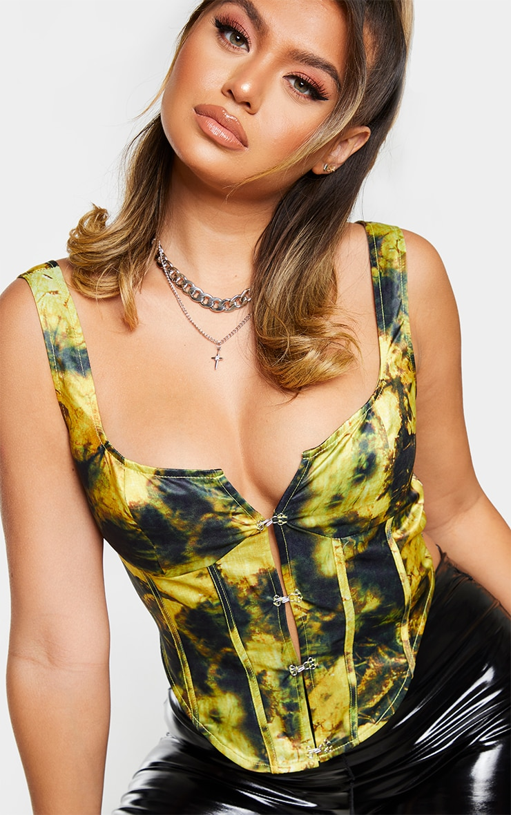 Yellow Tie Dye Hook And Eye Detail Structured Corset 4