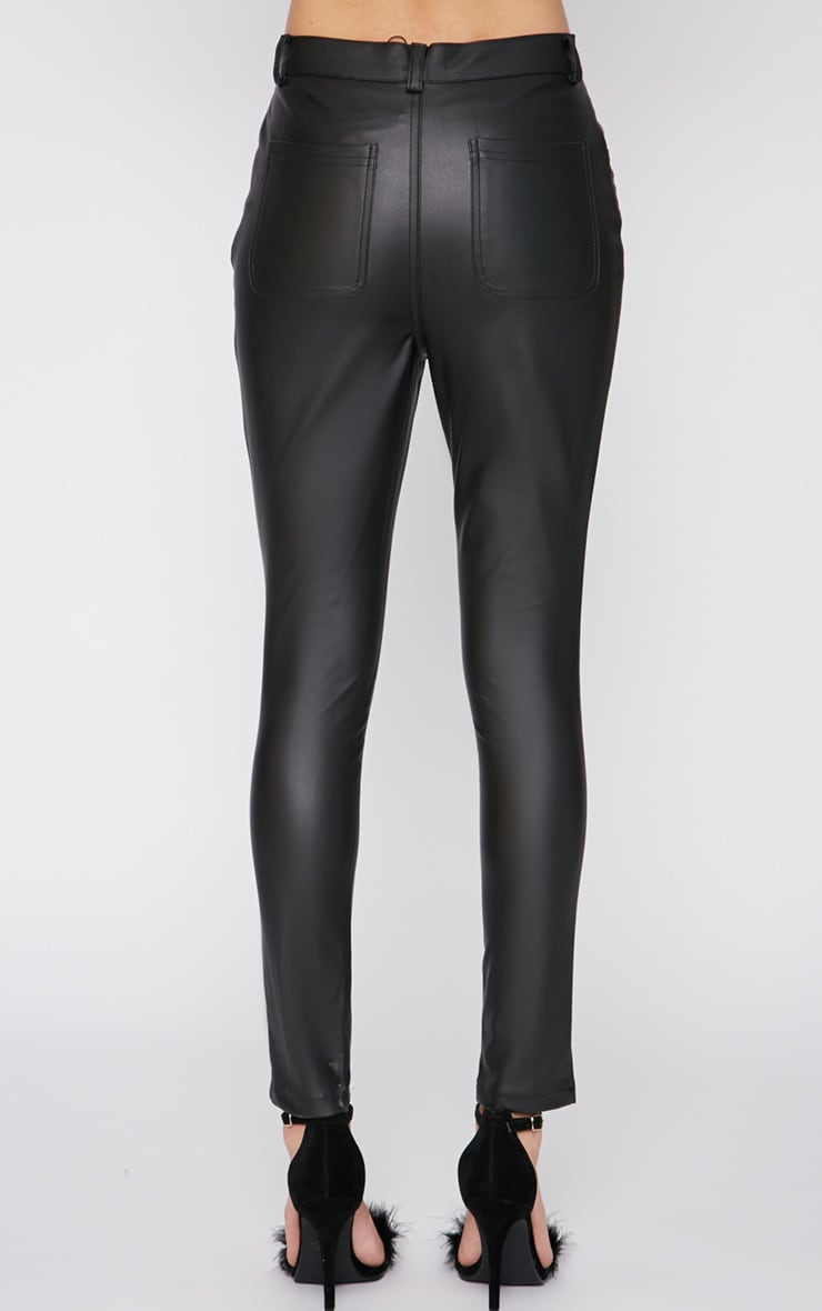 Nevah Black Leather Trouser  2