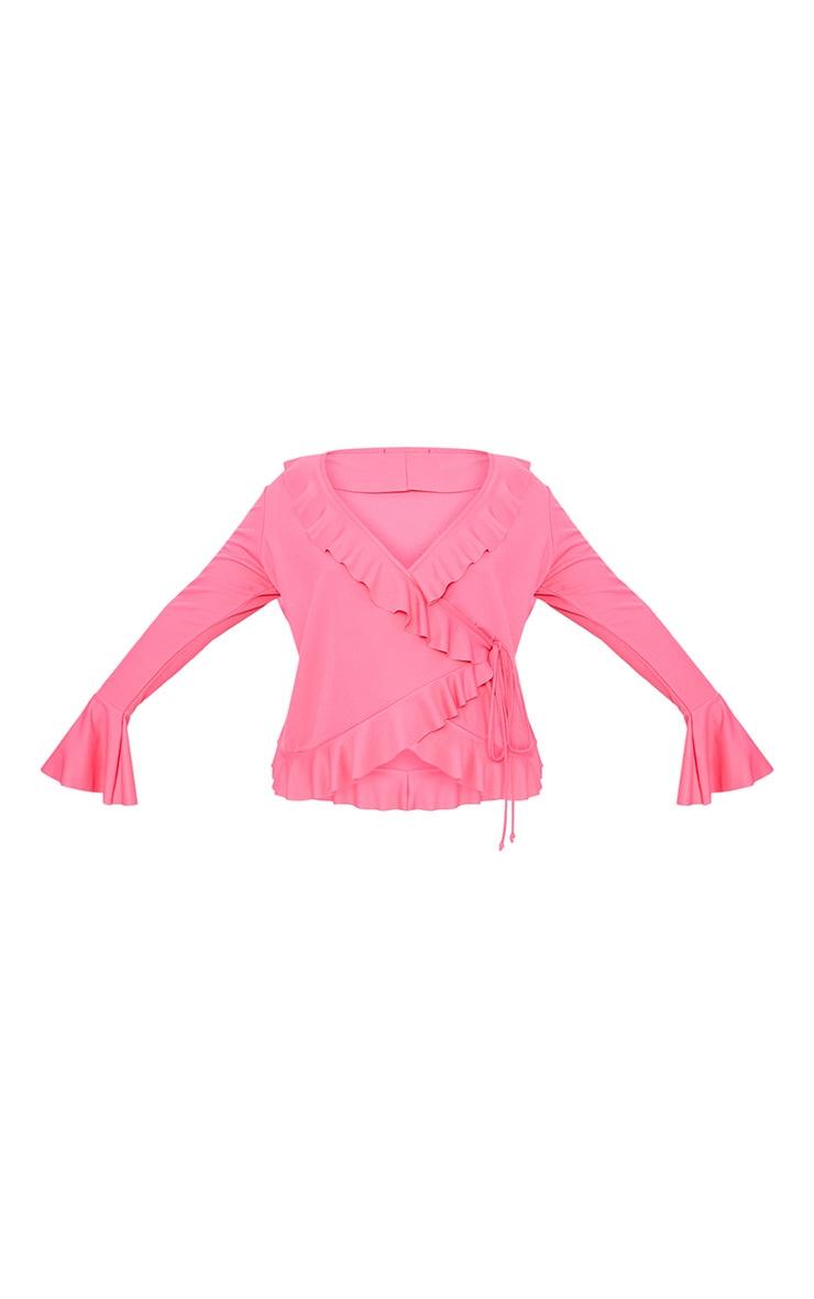 Plus Hot Pink Long Sleeve Wrap Detail Top 3