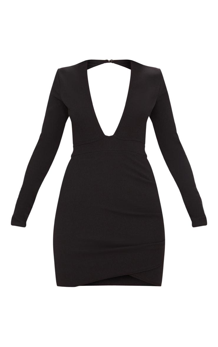 Black Plunge Cut Out Back Wrap Skirt Bodycon Dress 3
