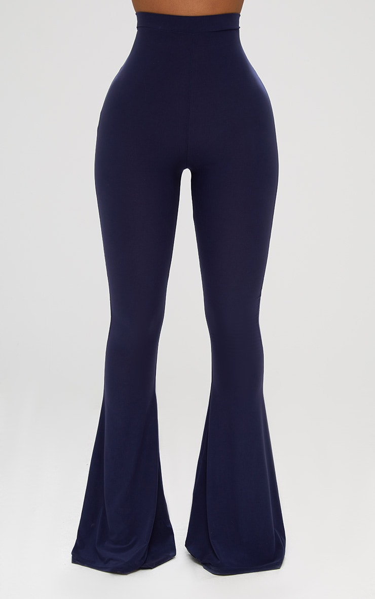 Shape Navy Slinky Flared Leg Pants 2