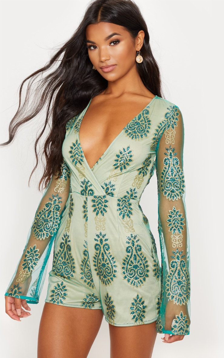 Green Glitter Paisley Flared Sleeve Playsuit 1